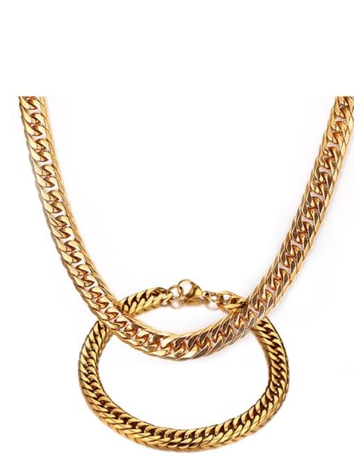CONG Titanium Steel Geometric Chain Vintage Necklace