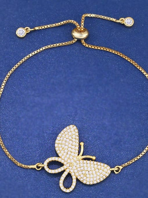 golden Brass Cubic Zirconia Butterfly Dainty Adjustable Bracelet