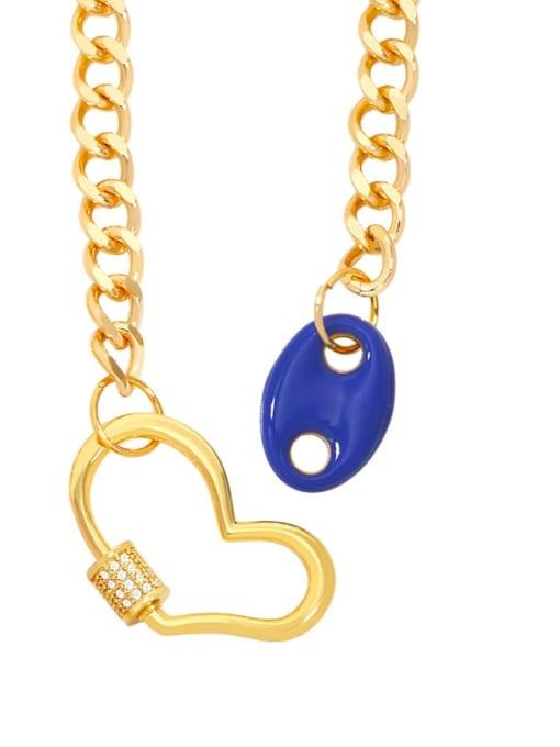 Dark blue Brass Enamel Heart Hip Hop Hollow Chain Necklace