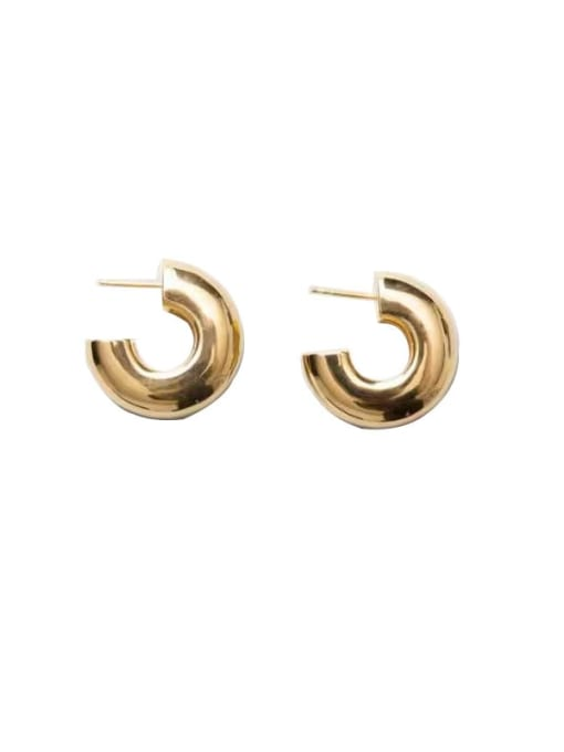 LI MUMU Brass Smooth Geometric Minimalist Drop Earring