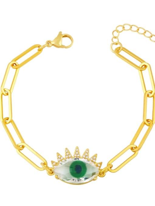 Dark green Brass Enamel Evil Eye Vintage Link Bracelet