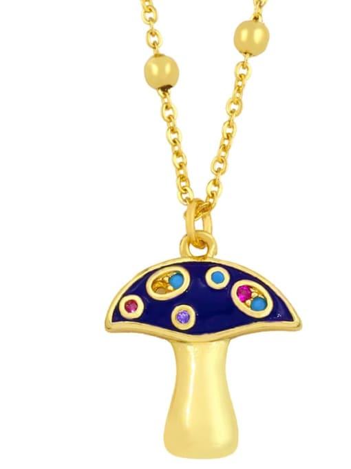 CC Brass Cubic Zirconia Enamel Mushroom Minimalist Necklace 2