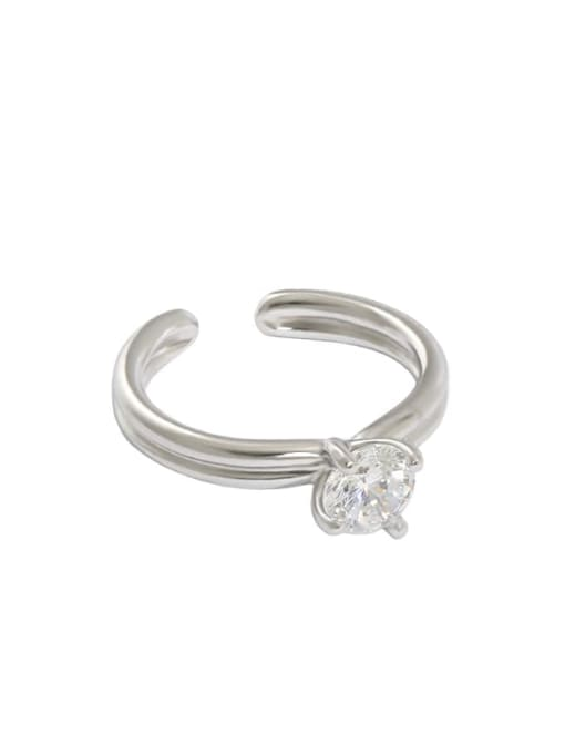 DAKA 925 Sterling Silver Cubic Zirconia Irregular Minimalist Band Ring 3
