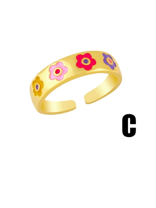 C Brass Enamel Heart Minimalist Band Ring