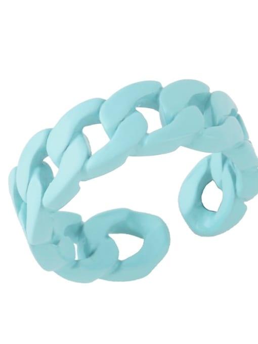 Light blue Brass Geometric Hip Hop Band Ring