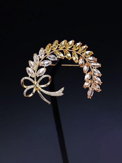 Golden yellow zirconium Brass Cubic Zirconia Butterfly Statement Brooch