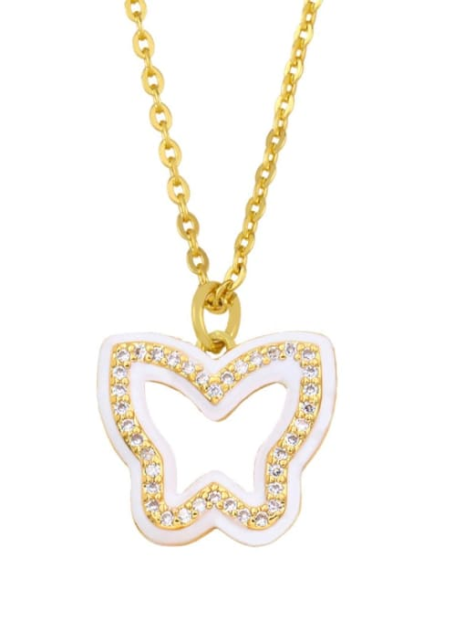white Brass Cubic Zirconia Hollow Butterfly Hip Hop Necklace