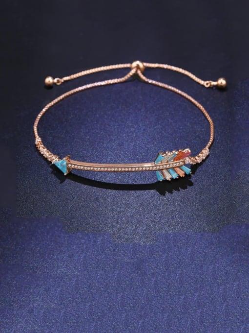 golden Brass Cubic Zirconia Irregular Dainty Adjustable Bracelet