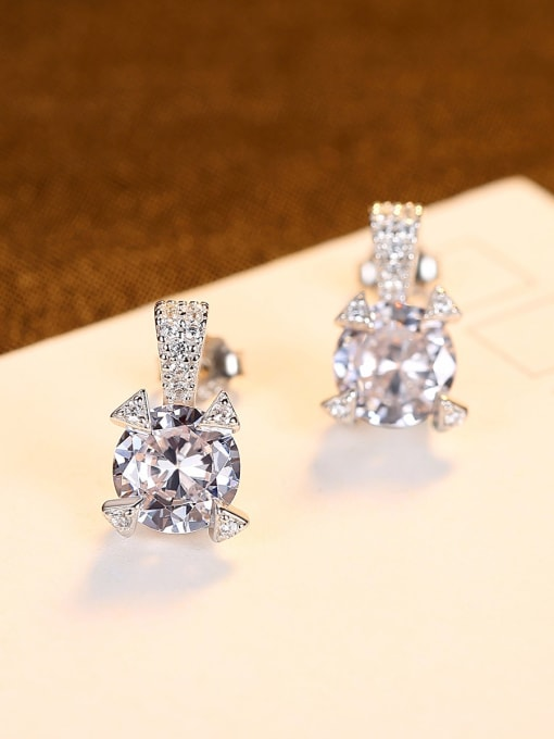 CCUI 925 Sterling Silver Cubic Zirconia Geometric Statement Stud Earring 3