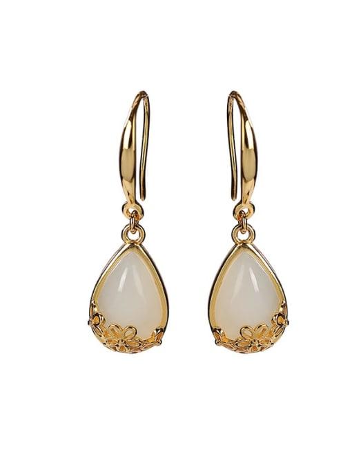 DEER 925 Sterling Silver Jade Water Drop Vintage Hook Earring 0