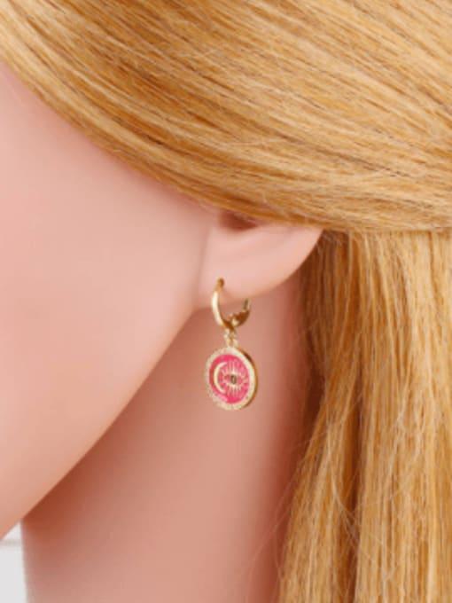 CC Brass Enamel Evil Eye Vintage Huggie Earring 1