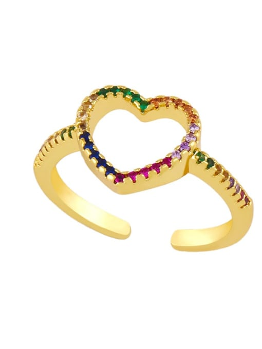 B Brass Cubic Zirconia Heart Minimalist Band Ring