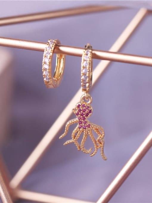 E0791 Brass Cubic Zirconia Octopus Vintage Huggie Earring