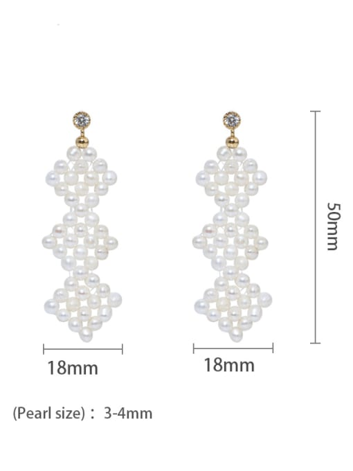 02 Brass Freshwater Pearl Geometric Ethnic Drop Earring