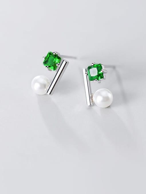 Rosh 925 Sterling Silver Cubic Zirconia Square Minimalist Stud Earring 1