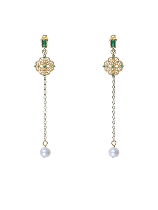 golden Brass Cubic Zirconia Tassel Cute Drop Earring