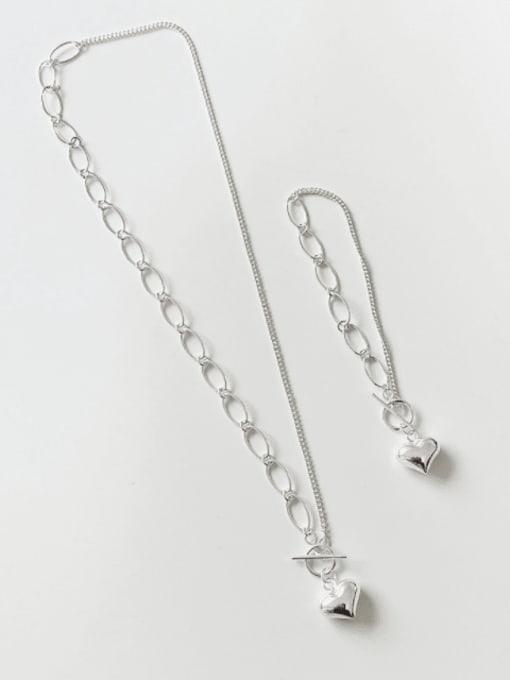 Boomer Cat 925 Sterling Silver Heart Minimalist Link Bracelet
