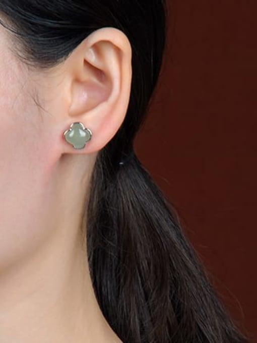 DEER 925 Sterling Silver Jade Square Vintage Stud Earring 1