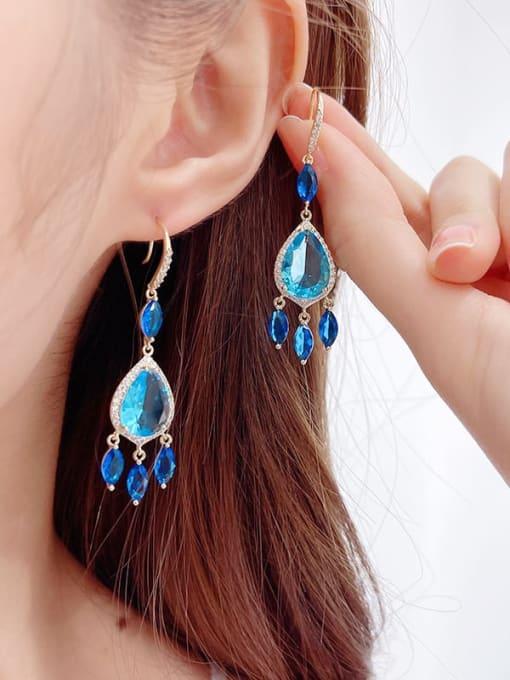 Luxu Brass Cubic Zirconia Water Drop Trend Hook Earring 1