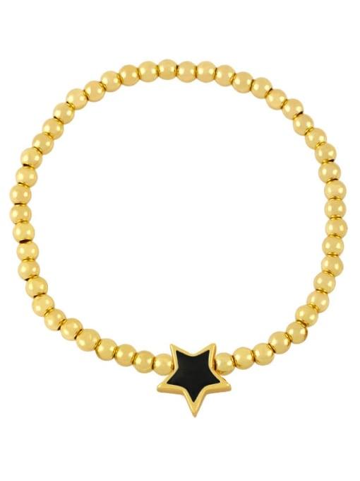 CC Brass Enamel Star Vintage Beaded Bracelet 3
