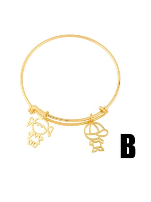 B Brass Cubic Zirconia Irregular Vintage Adjustable Bracelet