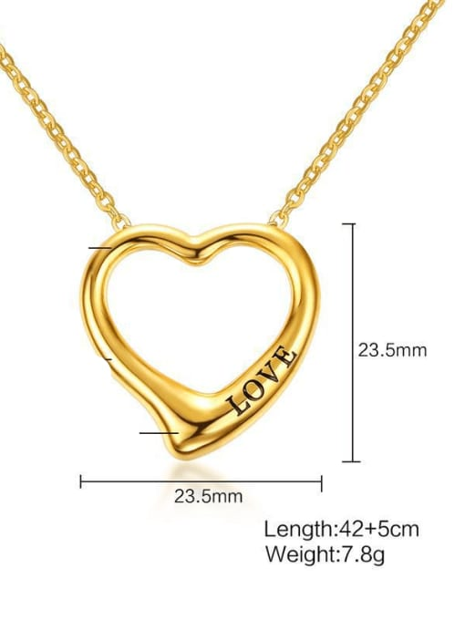 CONG Stainless steel Hollow Heart Minimalist Necklace 2
