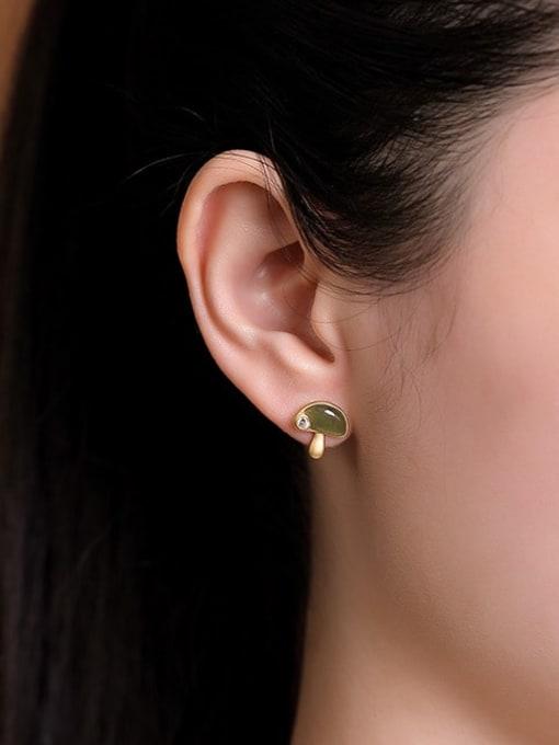 DEER 925 Sterling Silver Jade Mushroom Vintage Stud Earring 1