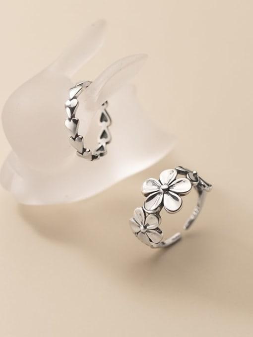 Rosh 925 Sterling Silver Flower Vintage Band Ring 2