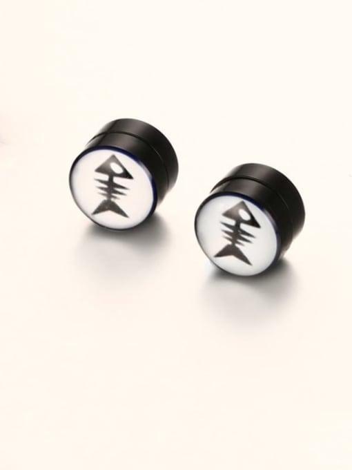 CONG Titanium Steel Enamel Geometric Hip Hop Stud Earring 0