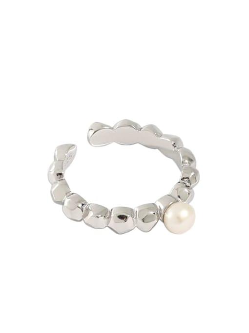 DAKA 925 Sterling Silver Freshwater Pearl Irregular Minimalist Band Ring 4