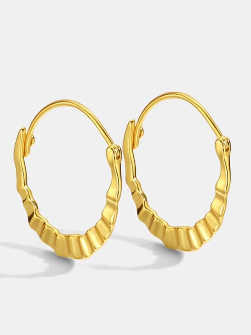 CHARME Brass Smooth Geometric Vintage Huggie Earring 0
