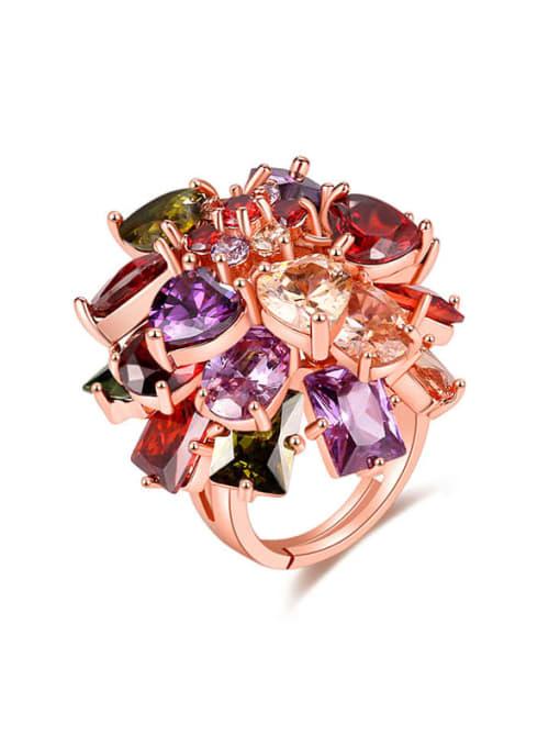DUDU Brass Cubic Zirconia Flower Minimalist Band Ring