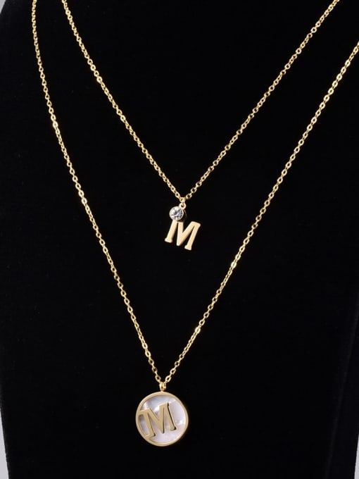 A TEEM Titanium Steel Letter Vintage Multi Strand Necklace 0