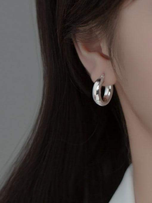 Rosh 925 Sterling Silver Round Minimalist Huggie Earring 2