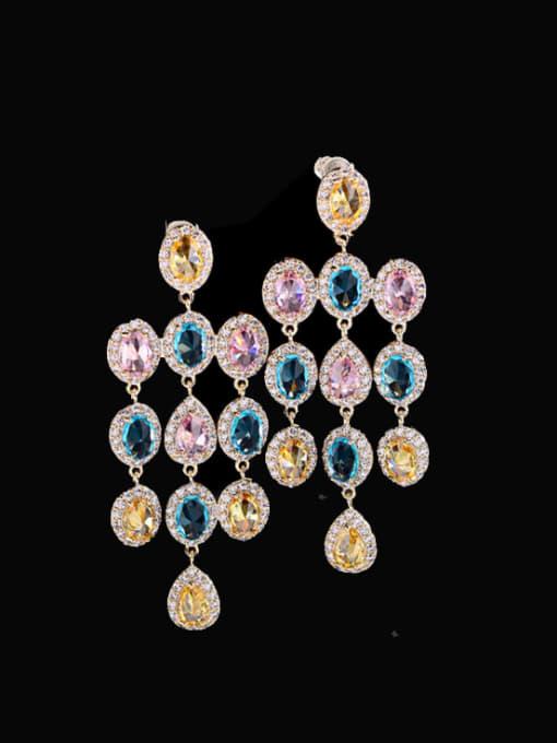 Color zirconium Brass Cubic Zirconia Tassel Statement Drop Earring