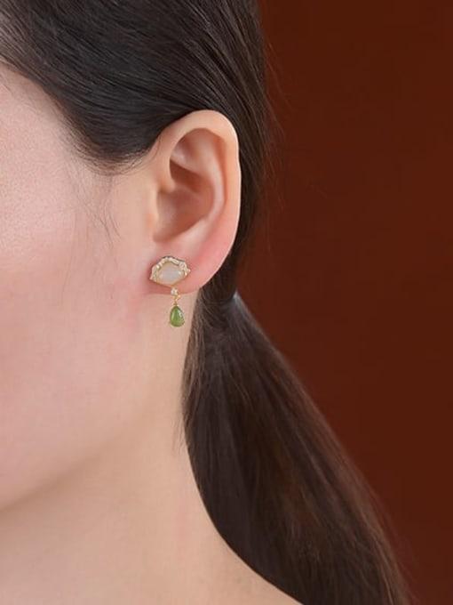 DEER 925 Sterling Silver Jade Triangle Vintage Drop Earring 1