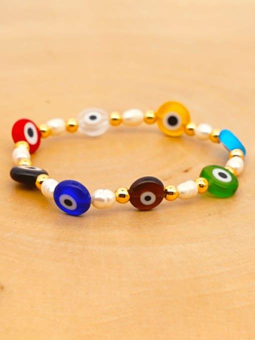 ZZ B200008C Stainless steel MGB Bead Multi Color Evil Eye Bohemia Beaded Bracelet