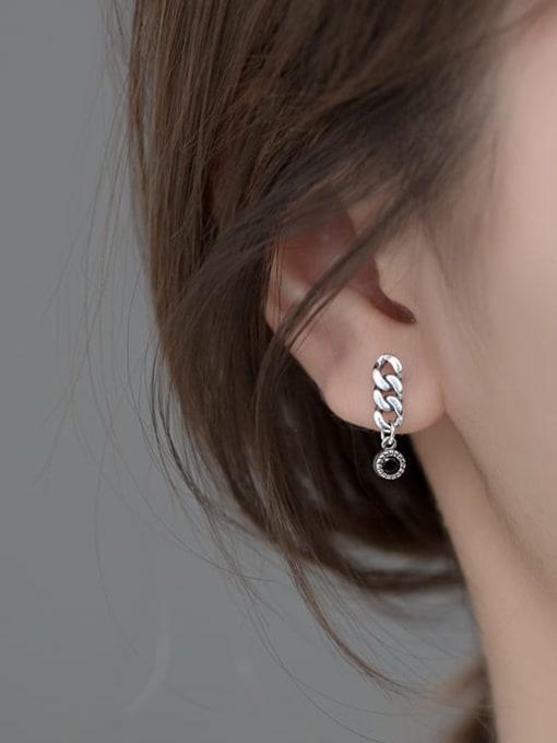 Rosh 925 Sterling Silver Cubic Zirconia Geometric Chain  Vintage Drop Earring 1