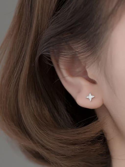 Rosh 925 Sterling Silver Cubic Zirconia Asymmetric  Star Dainty Stud Earring 3