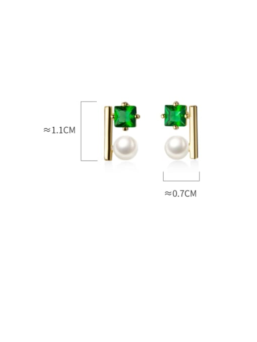 Rosh 925 Sterling Silver Cubic Zirconia Square Minimalist Stud Earring 4