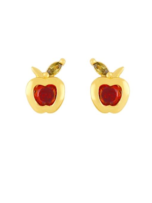 CC Brass Rhinestone Friut Cute Stud Earring 3