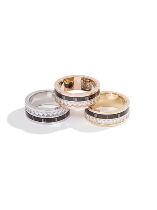 MIYA Stainless steel Enamel Rhinestone Round Minimalist Stackable Ring