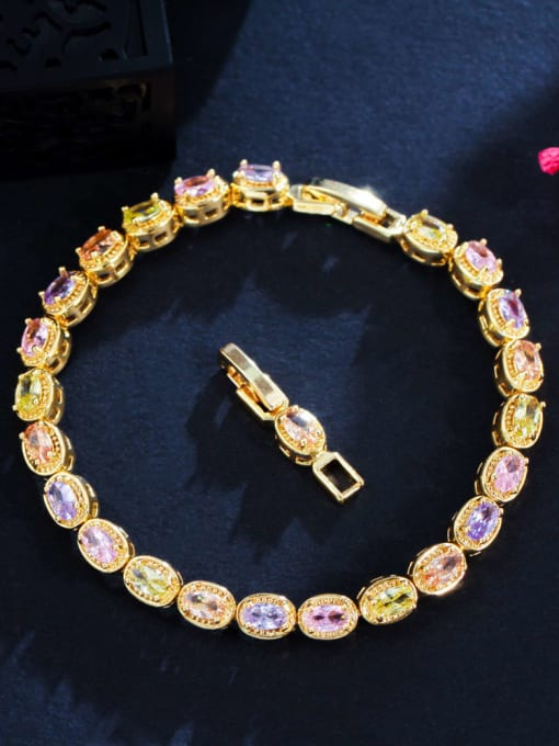 Gold Brass Cubic Zirconia Geometric Luxury Bracelet