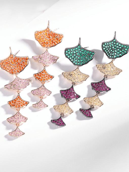 Luxu Brass Cubic Zirconia Leaf Trend Drop Earring 1