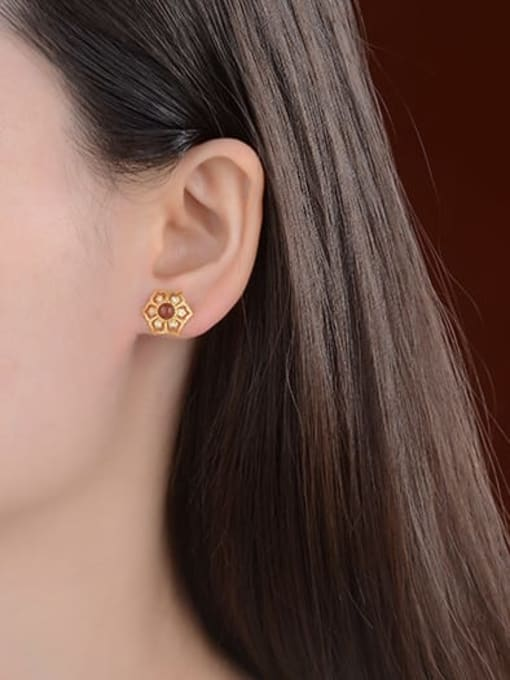 DEER 925 Sterling Silver Carnelian Hexagon Vintage Stud Earring 1