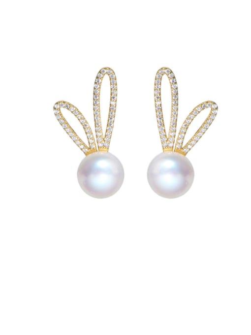 RAIN Brass Cubic Zirconia Irregular Minimalist Rabbit ears Stud Earring 0