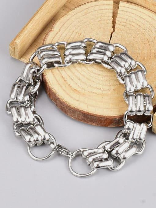 A TEEM Titanium Steel Geometric Hip Hop Link Bracelet