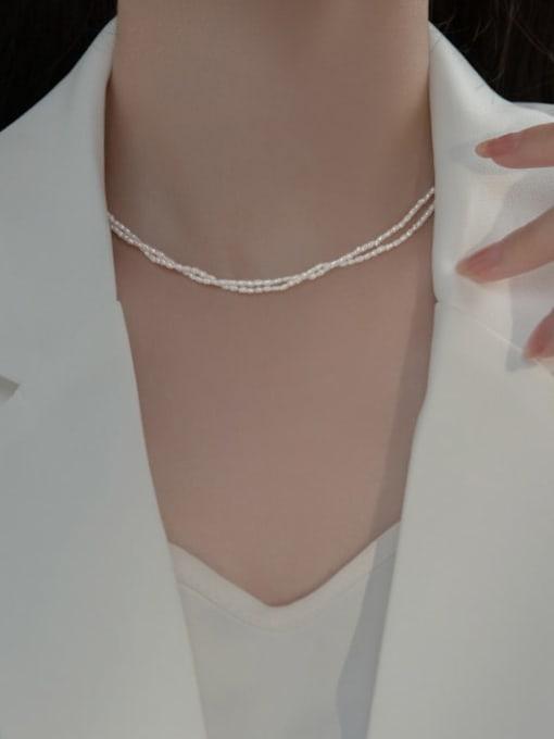 Rosh 925 Sterling Silver Imitation Pearl Round Minimalist Multi Strand Necklace 1