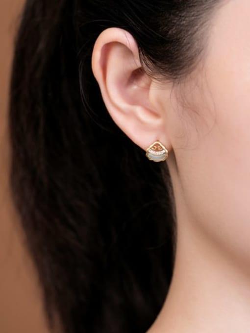 DEER 925 Sterling Silver Jade Irregular Vintage Stud Earring 1