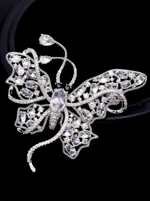 Luxu Brass Cubic Zirconia Butterfly Statement Brooch 1